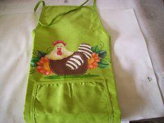 aventals do portugal | Avental e pano de cozinha com pintura em tecido galinha country - ref ...