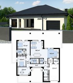 Modern Home Decor Tips For A Beautiful Living Space Family House Plans, Dream House Plans, Small House Plans, House Floor Plans, Contemporary House Plans, Modern House Design, Italian Cottage, Small Modern Home, Modern Bungalow