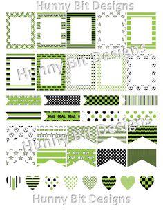 Erin Condren Planner Soccer Black Green White by HunnyBitDesigns