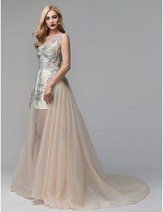 082fb8fe19db   249.99  Βραδινή τουαλέτα Illusion Seckline Μακριά ουρά Δαντέλα   Τούλι Επίσημο  Βραδινό Φόρεμα με Διακοσμητικά Επιράμματα με TS Couture®