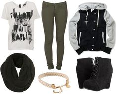 Boy Meets Girl Fall 2011 outfit 1 - Army green pants, graphic tee, wedge ankle booties, letterman jacket, scarf