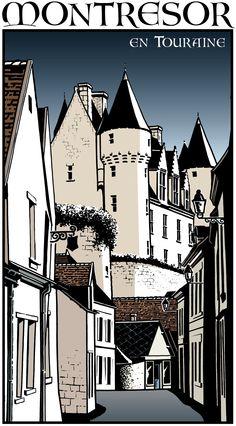 Montrésor en Touraine - Dessin pour l'Office de Tourisme de Montrésor