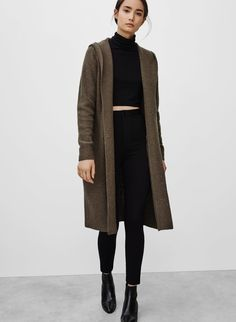 Chic Style - dark olive cardigan, crop top, leggings & ankle boots