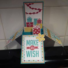 Stampin Up Birthday Card in a Box - 2014 perfect pennants, big wish, wishing you, petite petals in Bermuda Bay, Raspberry Ripple and Summer Starfruit by Gloria Kremer
