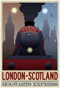 London- Scotland Hogwarts Express Retro Travel Poster Posters sur AllPosters.fr