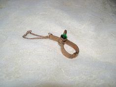 Vintage gold tone and green stone GLOVE by KimCycleDesigns on Etsy