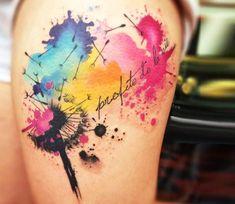 unique Watercolor tattoo - Dandelion tattoo by Pablo Ortiz Tattoo Sexy Tattoos, Trendy Tattoos, Body Art Tattoos, Small Tattoos, Tattoos For Women, Sleeve Tattoos, Bird Tattoos, Feather Tattoos, Name Tattoos For Moms