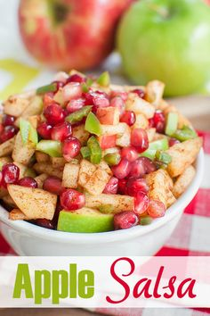 Recipes Snacks Sweet Fresh apple salsa is a great fall appetizer or snack. This apple salsa with pomegranate recipe is a little savory, a little sweet and a little spicy! And it's healthy too! Perfect for a party or potluck. Yummy Recipes, Potluck Recipes, Fall Recipes, Appetizer Recipes, Healthy Recipes, Pomegranate Recipes Appetizer, Apple Recipes Savory, Recipies, Snacks Recipes