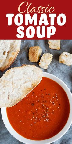 This Classic Tomato Soup is rich with a velvety texture. It's easy to make with canned tomatoes, and perfectly suited for all of your grilled cheese dipping needs. Better than a can of Campbell's and just about as easy! Easy Tomato Soup Recipe, Canned Tomato Soup, Tomato Tomato, Medieval Times Tomato Bisque Recipe, Simply Recipes, Fall Recipes, Veggie Recipes, Cooking Recipes, Keto Recipes