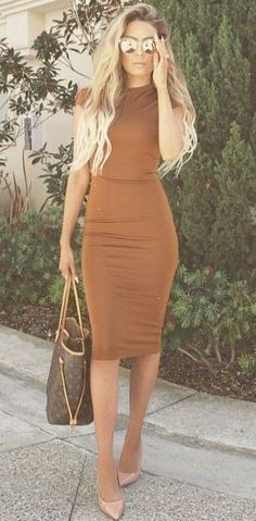 Rust bodycon dress w\/Louis Vuitton bag & CL pumps. Add a cropped leather jacket to add to the edgy yet sexy vibe for fall.Follow #willswife102712 for Summer\/Fall & Winter outfitsdressesoutfit tips jewelry sweaterscosmetology hair & more! 1000's of outfit ideas w\/makeup & hair styles\/colors & cuts to pull it altogether for every season\/occasion! dress it up and be red carpet ready or keep it casual but classy.