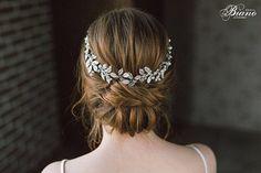 Grecian Headpiece Leaf Branch Hair Piece Bridal Back