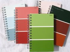 paint chips turned mini notebook covers - i better go to talk to my friend jerome over in paints at lowes to collect some old paint chips. i love these!