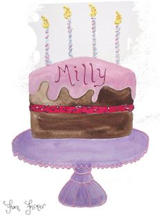 Milly's Birthday Cake Painting in Watercolour and Glitter @Flora Fricker