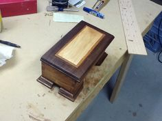 Latest project. Couple more coats of finish to go. Maple, cherry, and walnut, first ever music box with dovetail corners.
