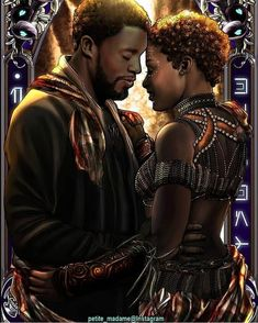 King T'Challa and Nakia from Black Panther Black Love Art, My Black Is Beautiful, Loki Thor, Art Beauté, Black Art Pictures, Mundo Comic, Black Characters, Black Artwork, Black Panther Marvel