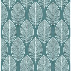 Fresco New Leaf Teal Wallpaper