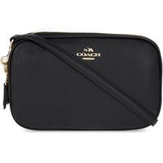 Coach Pebbled leather cross-body clutch ($185) ❤ liked on Polyvore featuring bags, handbags, clutches, zipper handbag, cross body strap purse, strap purse, coach clutches and coach handbags