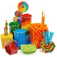 Oriental Trading has these plastic containers. Rainbow Birthday Candy Buffet