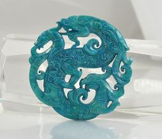 Carved  Blue Jade Rare Ancient Sacred Animal Old Dragons Carved Jade Amulet Talisman Phoenix Blue Jade Pendant Jade Bead Double Face