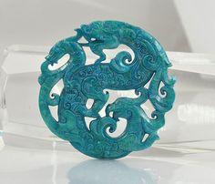 Carved  Blue Jade Rare Ancient Sacred Animal Old Dragons Carved Jade Amulet Talisman Phoenix Blue Jade Pendant Jade Bead Double Face