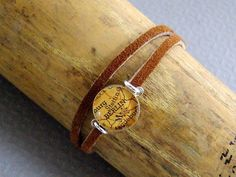 Leather Map Bracelet Wrap Sterling Silver  Choose by sherrytruitt, $38.00