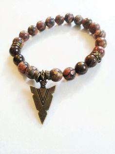Mens stretch gemstone bead bracelet bronzeite brass and by Absynia, $22.00
