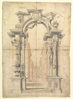Anonymous, Italian, Piedmontese, 18th century | Two One Half Variants of a Design for Painted Wall Decoration with Arch and Perspective View Inside (recto). Negligible diagrams and compass drawn circle (verso). | The Met