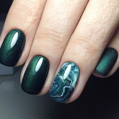 67 Dark Green Smoky Nail Design 2018
