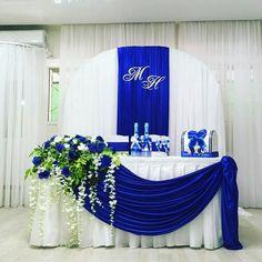 Blue Wedding Decorations, Romantic Wedding Decor, Diy Wedding Backdrop, Sweetheart Table Decor, Indoor Wedding Receptions, Wedding Stage Design, Starry Night Wedding, Creation Deco, Blue Wedding Dresses