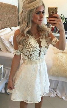 White Homecoming Dress,Lace Homecoming Gown,Short Homecoming Gowns,Sweetheart dress