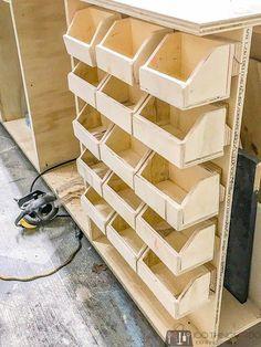 Holzwerkstatt Small parts bins, DIY workshop organization, workshop hacks, bolt bins Buying Petite C Cool Woodworking Projects, Woodworking Furniture, Woodworking Crafts, Woodworking Plans, Woodworking Basics, Woodworking Workshop, Woodworking Supplies, Woodworking Techniques, Small Woodworking Shop Ideas