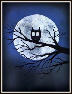 PLATEAU ART STUDIO- Night owl . Perfect project for my little ones. Chalk pastel, trace and sponge paint moon, paint tree limbs and branch, then paint the owl.