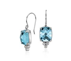 NEW Robert Leser Trinity Blue Topaz and Diamond Earrings | #Jewelry #Accessories #Style