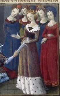 "Round and ""V"" shaped collars with serrated hem. This image is from the manuscript ""Lancelot du lac"" (Arrivée de Margonde à la cour)"