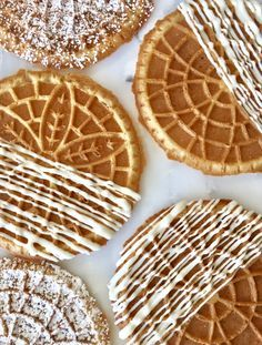 Apple Pie Spice, White Chocolate Pizzelle Cookies 4 egg whites 2/3 cup sugar 2 tsp vanilla 1/2 tsp fine sea salt 1/2 cup butter, melted 2/3 cup +2 tbsp flour 1 tsp baking powder 1/2 tsp apple pie s…