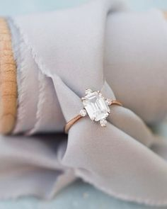 Bridal Wedding Jewelry Vintage Style Emerald Cut Engagement Ring in Rose Gold Beautiful Wedding Rings, Wedding Rings Rose Gold, Beautiful Engagement Rings, Wedding Rings Vintage, Vintage Engagement Rings, Wedding Jewelry, Bridal Rings, Dream Wedding, Wedding Stuff