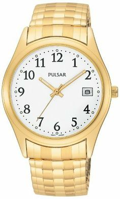 Pulsar Men's PXH430 Expansion Gold-Tone Stainless Steel Watch Pulsar. Save 40 Off!. $59.70. Quality Japanese-quartz movement. Strong Hardlex crystal protects watch from excessive wear on dial. Water-resistant to 99 feet (30 M). Brass case; white dial; date function. Case diameter: 37 mm
