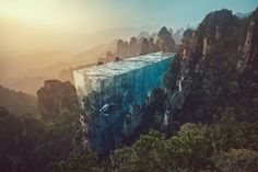 A surreal digital artwork by redditor Atribecalledmeuw using a source photo of China's Zhangjiajie National Forest Park