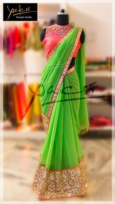 trendy #sarees w/ vibrant colors by Yaksi Deepthi Reddy https://www.facebook.com/pages/Yaksi-Deepthi-Reddy/329354540526914 Road No.4, Banjara Hills,Hyderabad ☏: 91 93461 83949 via http://www.maguvathefashionworld.com/2014/11/beautiful-designer-sarees-by-yaksi.html#.VGOnd7jF8kM