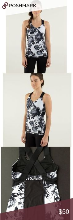 Lululemon push ur limits tanks in brisk bloom Sz 6 Like NEW! Only wore about 4 times, gray condition. Black and white floral pattern, thick black straps and mesh back. Removable bra pads. Sz 6. lululemon athletica Tops Tank Tops