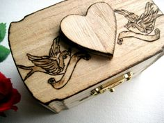 Love Birds Heart and Flowers -pyrography on rustic trinket box