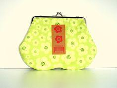 Multi Purpose Purse Neon Green Flowers