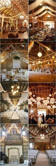 30 Romantic Indoor Barn Wedding Decor Ideas with Lights.