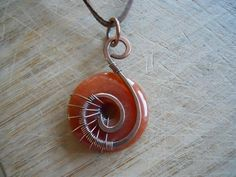 Orange Adventurine Pendant Donut Bead Wire Wrapped by OurFrontYard, $12.77