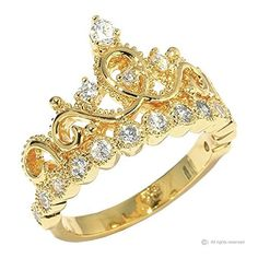 This beautiful yellow gold-plated sterling silver crown ring / princess ring resembles the woman who wears it. It is covered in cubic zirconia's, giving it a beautiful shine! Diamond Cluster Engagement Ring, Vintage Engagement Rings, Tiara Ring, Bar Stud Earrings, Yellow Gold Rings, Sterling Silver Jewelry, Silver Jewellery, Antique Jewelry, Etsy