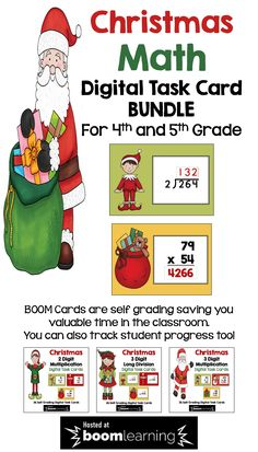 This Christmas Digital Task Card Bundle features differentiated digital task cards on 3 different math topics for 4th and 5th grade: 2 Digit Multiplication, 3 Digit Multiplication, and 3 Digit Long Division.  BOOM cards are a great way to use technology in the math classroom.  With 3 different sets of cards, students will have lots of practice and the cards are self grading too!  Teachers can even track student progress. Easy prep for teachers and super fun for students!