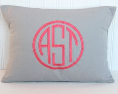 Monogram Pillow - Double Circle Personalized Pillow - ALL SIZES - Baby Gift - Wedding Gift - Dorm Decor
