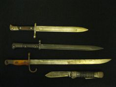 #1. Turkish M1935 Bayonet for a 8 MM Mauser M1893 and 1905 rifles.  Made at AS.FA Askari Fabrica Turkish arms mil factory.   # 2. WWII German Sword bayonet for Mauser 98k.  Made in Czechoslovakia for German Army circa 1940-41 by Ricasso and/or Waffenfabrik Strica Werke.  #3.  Japanese model 30 bayonet   #4.  WWII U.S. Navy survival knife by Colonial of Providence, RI.    3.