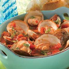 Portuguese-Style Steamed Clams. Fresh clams are steamed in a savory blend of Swanson® Chicken Broth, white wine and diced tomatoes accented with bacon, chorizo sausage, garlic and cilantro.