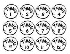 """in the Hat: Thing labels This listing is for 3 sets of numbered tags inspired by Thing 1 and Thing 2 from Dr. Seuss's """"The Cat in the Hat.""""This listing is for 3 sets of numbered tags inspired by Thing 1 and Thing 2 from Dr. Seuss's """"The Cat in the Hat. Dr. Seuss, Dr Seuss Week, Mandala T Shirt, Dr Seuss Costumes, Dr Seuss Activities, Sequencing Activities, Reading Activities, Dr Seuss Shirts, Dr Seuss Crafts"""